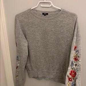 Ardene grey floral long sleeve shirt